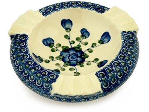 Polmedia Polish Pottery Polish Pottery 6-inch Ashtray made by Ceramika Artystyczna (Blue Poppies Theme) + Certificate of Authenticity