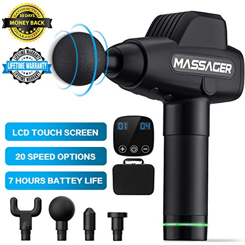 Muscle Massager, Massage Gun 20 Adjustable Speeds Rechargeable Cordless Handheld Deep Tissue Percussion Muscle Massager…