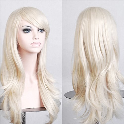 Anime Cosplay Synthetic Wig 10 Colors Japanese Kanekalon Heat Resistant Fiber Full Wig with Bangs Long Layered Curly Wavy 23'' / 58cm+Stretchable Elastic Wig Net for Women Girls Lady Fashion(blonde)