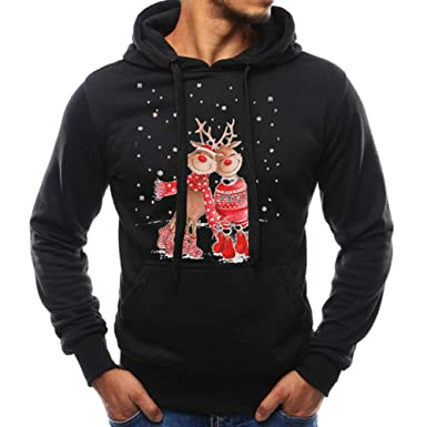 Beautyfine Mens Long Sleeve Sweatshirt Hoodies Autumn Winter Warm Christmas Casual Fashion Tracksuits