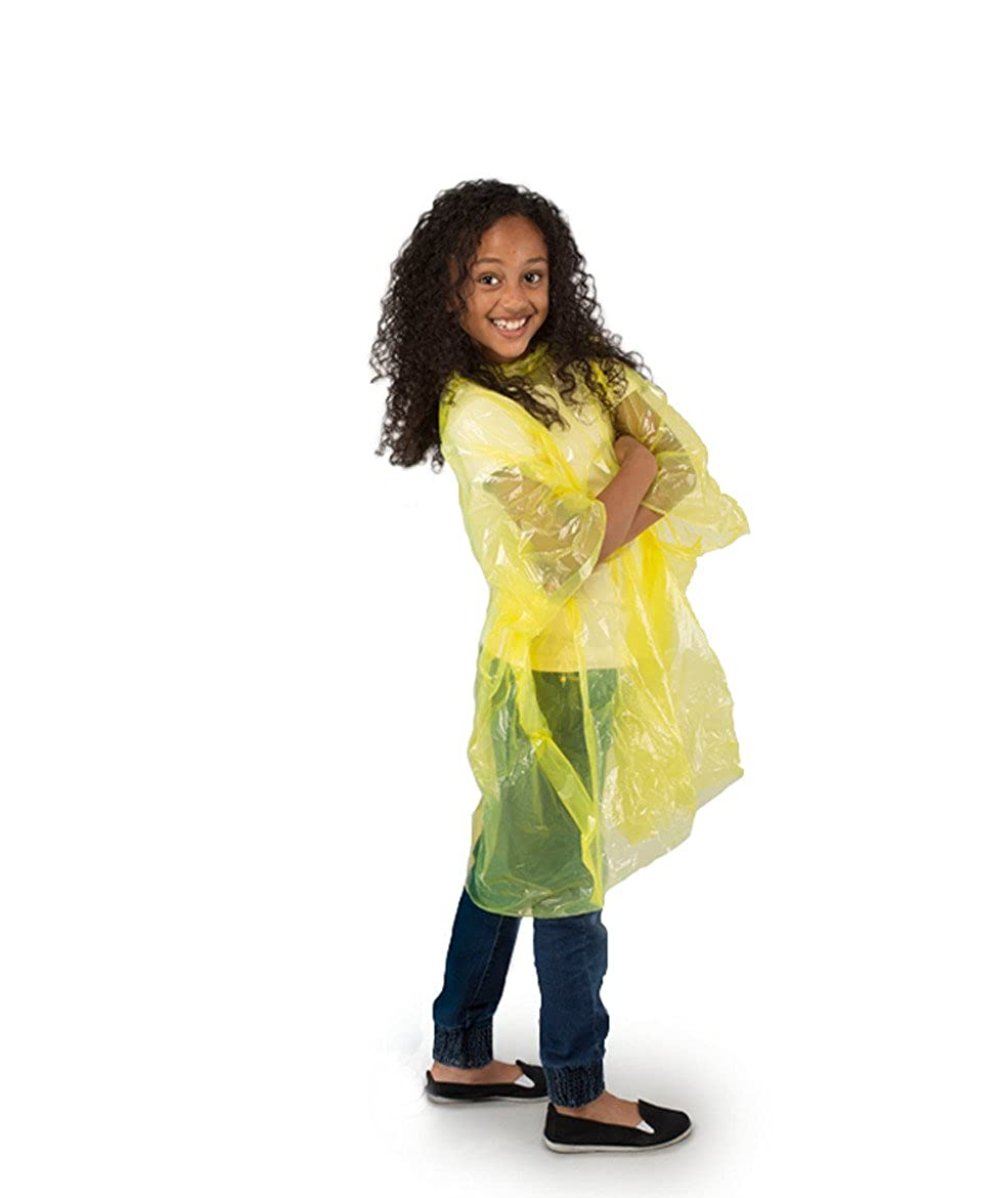 StayDry Rain Poncho Child Size Suit Ages 6-10 Years Waterproof Disposable Pack of 4