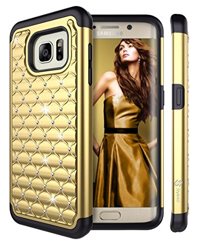 Crystal Bling Case Cover - S7 Edge Case, Galaxy S7 Edge Case, Style4U Studded Rhinestone Crystal Bling Hybrid Armor Case Cover for Samsung Galaxy S7 Edge with 1 Style4U Stylus [Gold / Black]