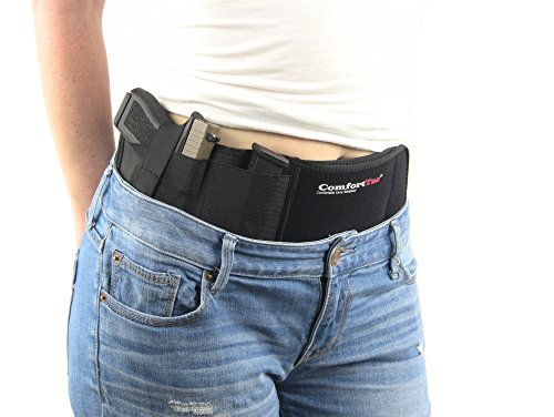Ultimate Belly Band Holster for Concealed Carry | Black | Fits Gun Smith and Wesson Bodyguard, Shield, Glock 19, 42, 43, P238, Ruger LCP, and Similar Sized Guns | For Men and Women | Right Hand Draw (The Best 45 Pistol To Carry)