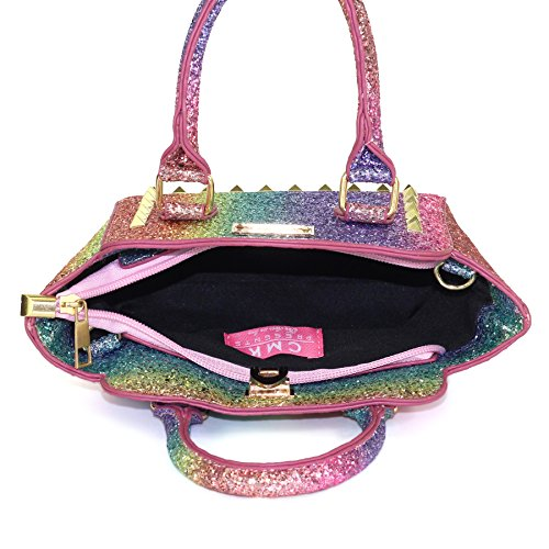 CMK Trendy Kids My First Shinny Glitter Rainbow Purse for Little Girls Toddlers Mini Tote with Poms (80003_Rainbow) by CMK Trendy Kids (Image #7)