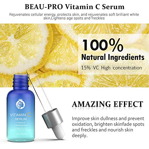 15% Alto dosiert Vitamin C Serum con ácido hialurónico, anti-edad rostro, Anti-Arrugas, alisado de arrugas, contiene ácido hialurónico Colágeno, ...