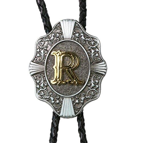 Fancy Dress Letter R (Golden Initial R Flower Nursery Cowboy Bolo Tie with Cowhide Rope)