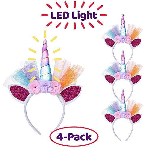 LED Unicorn Headbands - Pack of 4 Unicorn Headpieces with Glitter Ears, Row of Flowers, Colorful LED Horn with On/Off Switch - Unicorn Theme Party Favor Supplies – Great for -
