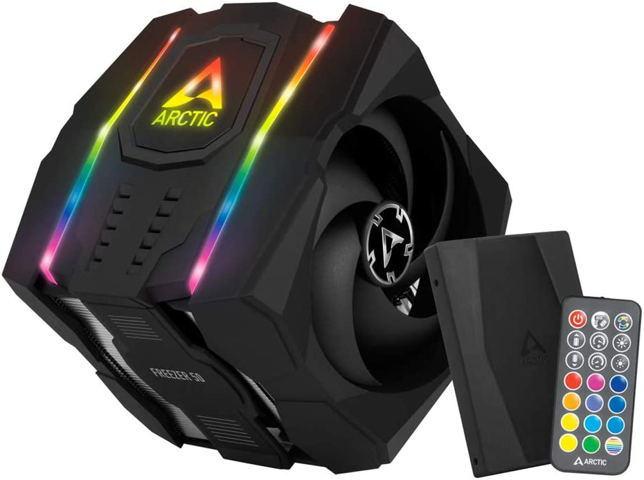 ARCTIC Freezer 50 (incl. A-RGB Controller) - Multi Compatible Dual Tower CPU Cooler with A-RGB CPU Cooler for AMD and Intel, Two Pressure-Optimised Fans, 6 Heatpipes, Incl. MX-4 Thermal Paste