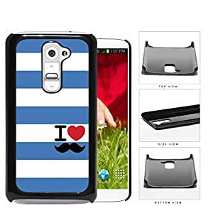 I Heart Mustache Blue Striped Hard Plastic Snap On Cell Phone Case LG G2 by icecream design