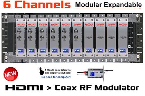 6 CHANNELS HDMI MODULATOR - VECOAX BLADE 6 - HDMI Video Distribution Over TV Coax Cables To All TVs in Every Room - FULL HD 1080p ENCODING with Dolby (Hdmi To Coax Modulator)