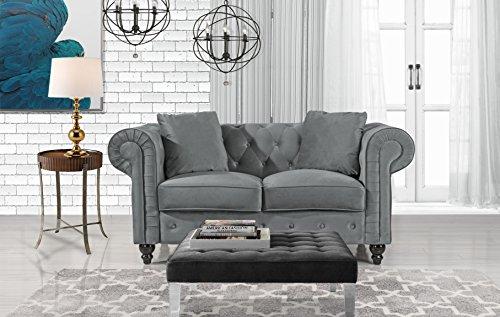 Divano Roma Furniture Classic Modern Scroll Arm Velvet Chesterfield Love Seat Sofa (Grey)