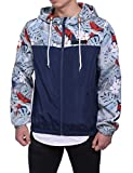 HEQU Men's Floral Hooded Windbreaker Lightweight Zip-up Jacket with Pocket Blue 2XL