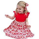 BESTOPPEN Baby Girls Dress Red,Girl Christmas Cute leeveless Dresses Xmas Lace Princess Dress Ruffle Print Headband Dress Casual Christmas Costumes Party Dress Size for 1-6 Years Old (4Y, A)