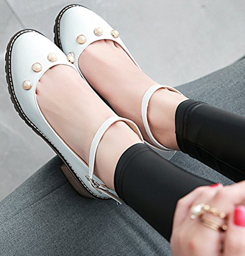 Idifu Womens Sweet Pearl Ronde Neus Lage Top Mid-level Hakken Office Pumps Schoenen Met Enkelbandje Wit