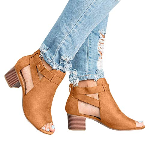 01dceac0974207 Xinantime Womens Cutout Booties Open Toe Slip On Chunky High Block Heel  Pumps Ankle Boots Sandals