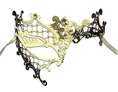 [Luxury Mask Women's Signature Phantom Of The Opera Masquerade Mask, Gold/Clear Stones, One Size] (Masquerade Mask For Prom)