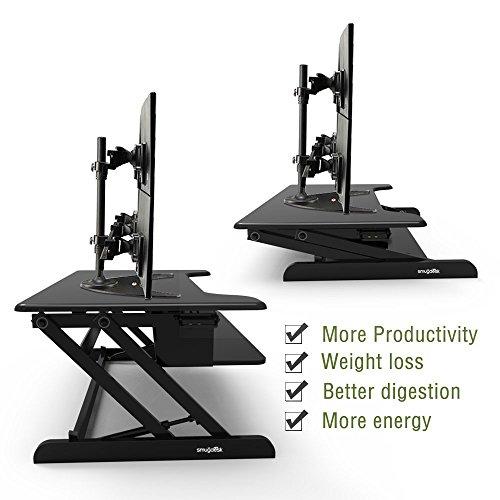Smugdesk Standing Desk, Stand up Adjustable Desk Riser Converter for Desktop Laptop Dual Monitor by Smugdesk (Image #4)'