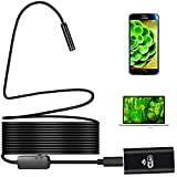 WiFi Endoscope Inspection Camera Cicime Wireless Borescope 2.0 Megapixels 8 Leds 720P Digital HD 5M(16.4 ft) Waterproof Snake Rigid Micro Usb Cable for IOS/Android/Windows/Mac