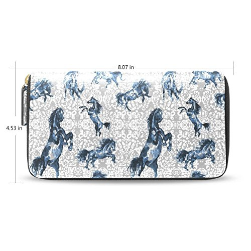 Womens Wallets Prancing Horse Travel Passport Long Zip Around Leather Clutch Purses Handbags by HangWang