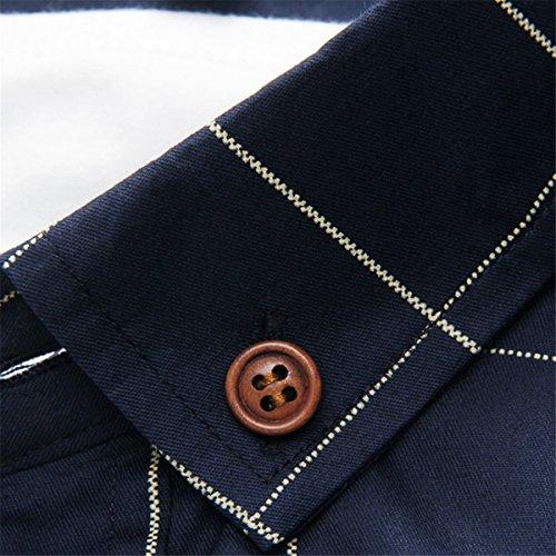 LOCALMODE Men's Fit Dress Shirt,Navy Blue,Large