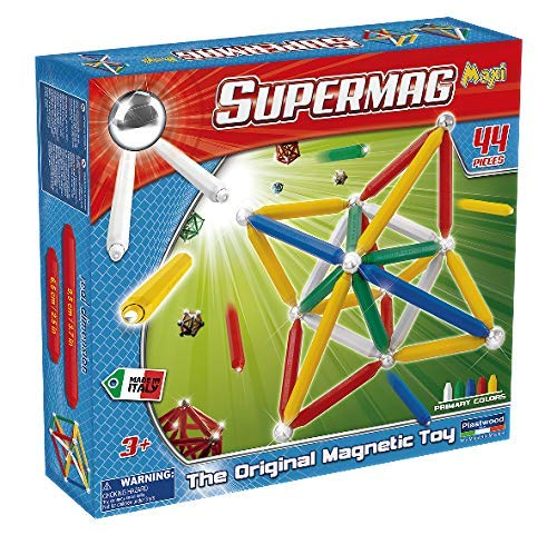 Supermag Maxi is A Magnetic Construction Building Set with Rods and Balls for 2D and 3D Building with Magnetic Rods in 2 Sizes for Added Creativity, Contains 44 Pieces from Supermag