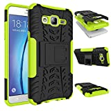 Galaxy On5 Case, MCUK Heavy Duty Rugged Dual Layer - Soft/Hard Shell 2 in 1 Tough Protective Cover Case with Kickstand for Samsung Galaxy On5/G550 (Green)