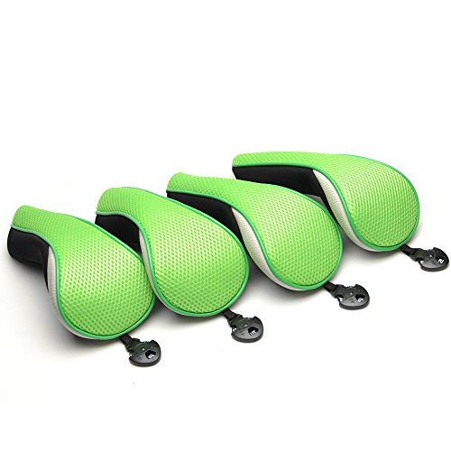 (Hybrids 4pcs Green Neoprene Stealth Club Covers With Adjustable Notation Design Easy Lock-in Headcovers Fit For All)