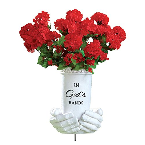 Collections Etc in God's Hands Memorial Flower Vase Ground (Vases Collection Vase)