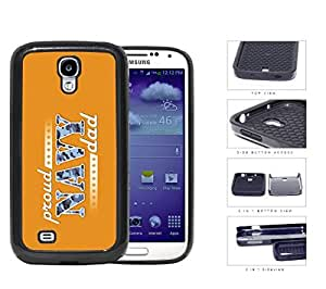 Proud Navy Dad with Blue Camo Letters with Orange Background Samsung Galaxy S4 i9500 (2-piece) Dual Layer High Impact Cell Phone Case