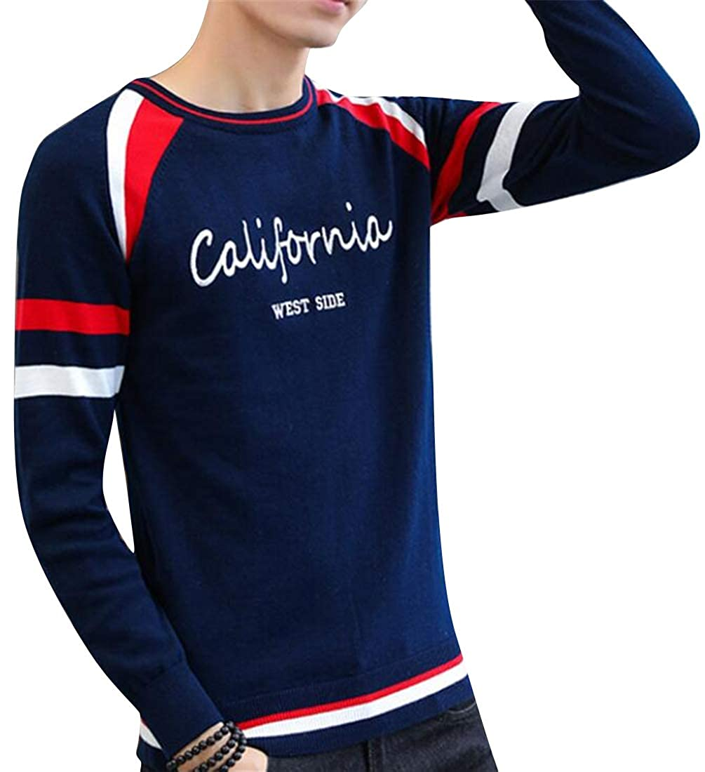 Fubotevic Mens Winter Warm Slim Round Neck Knit Letter Printing Pullover Sweaters