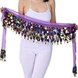ZLTdream Belly Dance Color Film Gong Hip Scarf Chiffon Purple