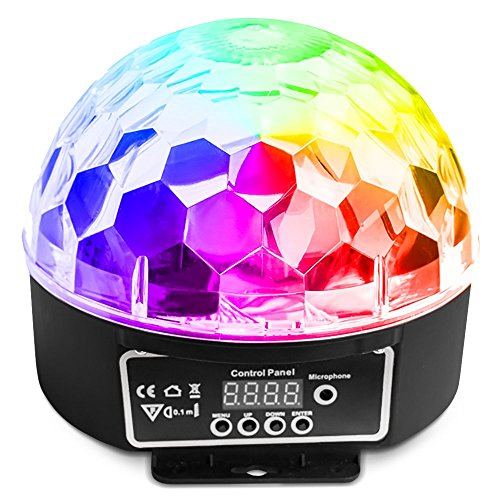 LED Disco Ball by NuLights - RGB LED Party Lights - 100% RISK FREE! Best for Kids Parties, DJ & Mood Lighting. Party Light for Indoors/Outdoors - DMX, Sound Activated, Digital Display, 5 Color Dmx Mirror Ball Motor
