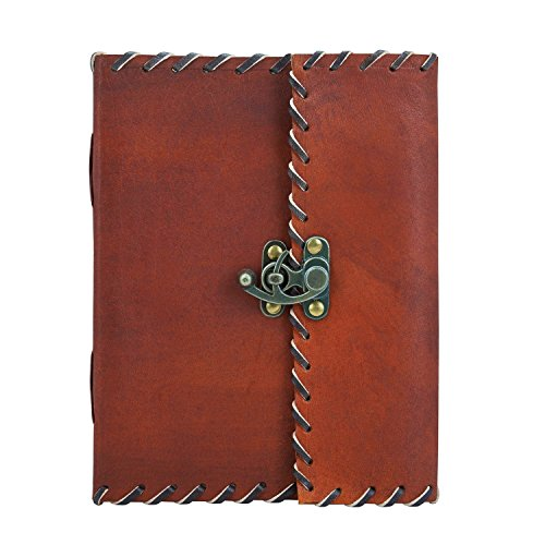 (Great Christmas Gifts Leather Journal Diary Writing Notebook With Lock Personal Travel Diary Unlined Paper Sketchbook Doodle Art Book Recipe Book Organizer 8 x 6 Inches Anniversary Gifts)