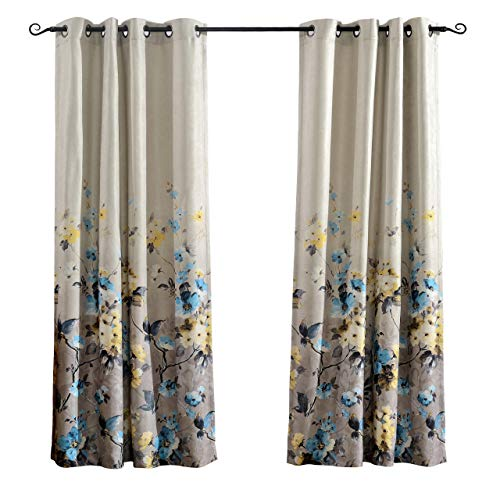 MYSKY HOME Floral Design Print Grommet top Thermal Insulated Faux Linen Room Darkening Curtains, 52 x 84 Inch, Blue, 1 Panel -