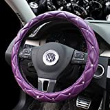 punisher steering wheel cover - Follicomfy Leather Auto Car Steering Wheel Cover,Anti Slip Durability Safety,Purple