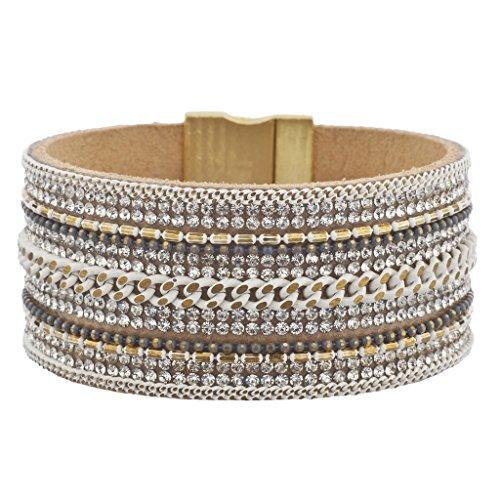 Multi Stone Magnetic Bracelet (Lux Accessories White Multi Chain Crystal Stone Goldtone Rust Magnetic Bracelet)