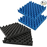 "4 Pack Blue / Charcoal Eggcrate Acoustic Foam Sound Proof Foam Panels Nosie Dampening Foam Studio Music Equipment 2.5"" x 12"" x 12"""