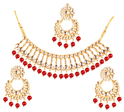 Touchstone New Contemporary Kundan Collection Splendid Indian Bollywood Desire Mughal Kundan Look Triple Line Faux Red Onyx Beads Bridal Jewelry Necklace Set in Gold Tone for Women