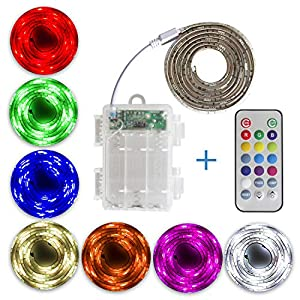 SUMAI LED RGB Strip lights + Controller with Remote + Batterybox, battery powered, multi-color, length to select: L=50cm / 1m / 2m, for Indoor and outdoor, waterproof