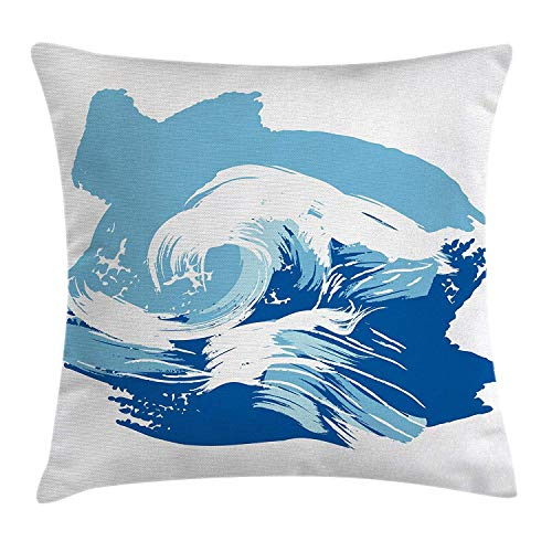 CoraBest Ocean Throw Pillow Cushion Cover by, Sealife Beach Themed Surfing Miami Waves Sea Marine Life Image Art Print, Decorative Square Accent Pillow Case, 18 X 18 Inches, Blue Light -