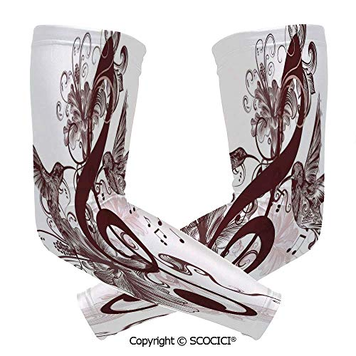 Comfort and Durable Lightweight Arm Guard Sleeve Cute Floral Design with Treble Clef and Singing Flying Birds Sparrows Art Breathable, Flexible Sleeves Protection]()