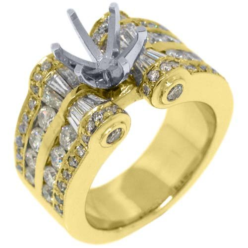 18k Yellow Gold Round & Baguette Diamond Ring Semi Mount 2.78 Carats