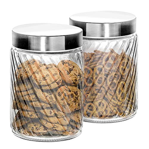Klikel Glass Canister Set For The Kitchen | Set of 2 Containers With Lids | Tight Seal For Flour Sugar Pasta Cereal | Cookie Jar | Capacity 68oz / 2000ml 4.25