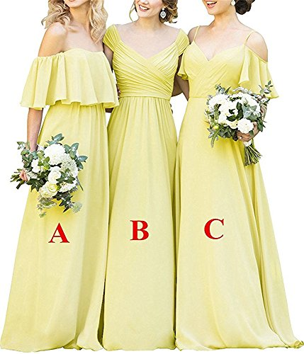Bridesmaid Chiffon Shoulder B Women's Long yellow DreHouse Party Gowns Dresses Off The wRq6nIHSX