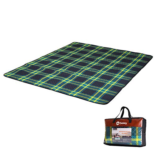Sekey Extra Large Outdoor Picnic Blanket Waterproof, Machine Washable Beach Blanket Portable Picnic Mat Sand Proof Composed of Three Layers (150D Polyester, Cotton and 210 D Oxford), 82.7