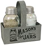 "CTW Home Collection Salt & Pepper Shakers with Metal ""Mason Jar"" Caddy"