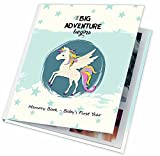 First Year Baby Memory Book. Keepsake Journal - Unisex Photo Album & Scrapbook + 12 Monthly Stickers for Boy & Girl. Perfect Shower Gift For New parents