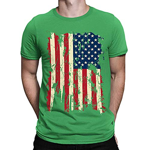 Zackte Men'sShort Sleeve T-Shirt America Flag Printed Crew Neck Summer Shirts Tops Tee Sweatshirts Green