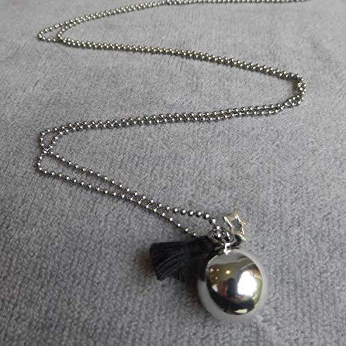 Bola de Grossesse avec chaine Cipto argent/é avec pompon noir et /étoile /évid/ée PERSONNALISABLE