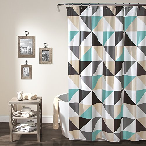 Lush Decor Abner Geo Shower Curtain, 72 x 72, Turquoise by L